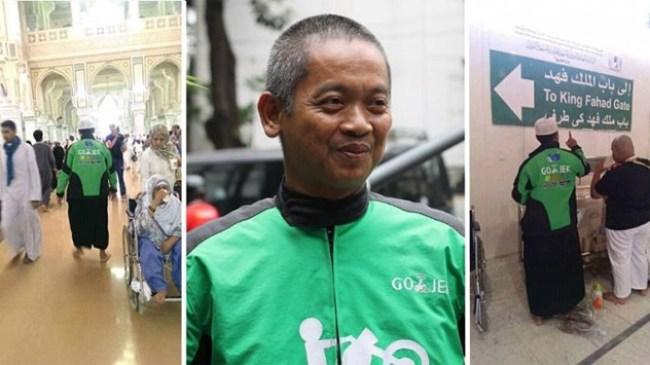 Masyaallah Driver Go-Jek Umroh Mengenakan Jaket Kerjanya