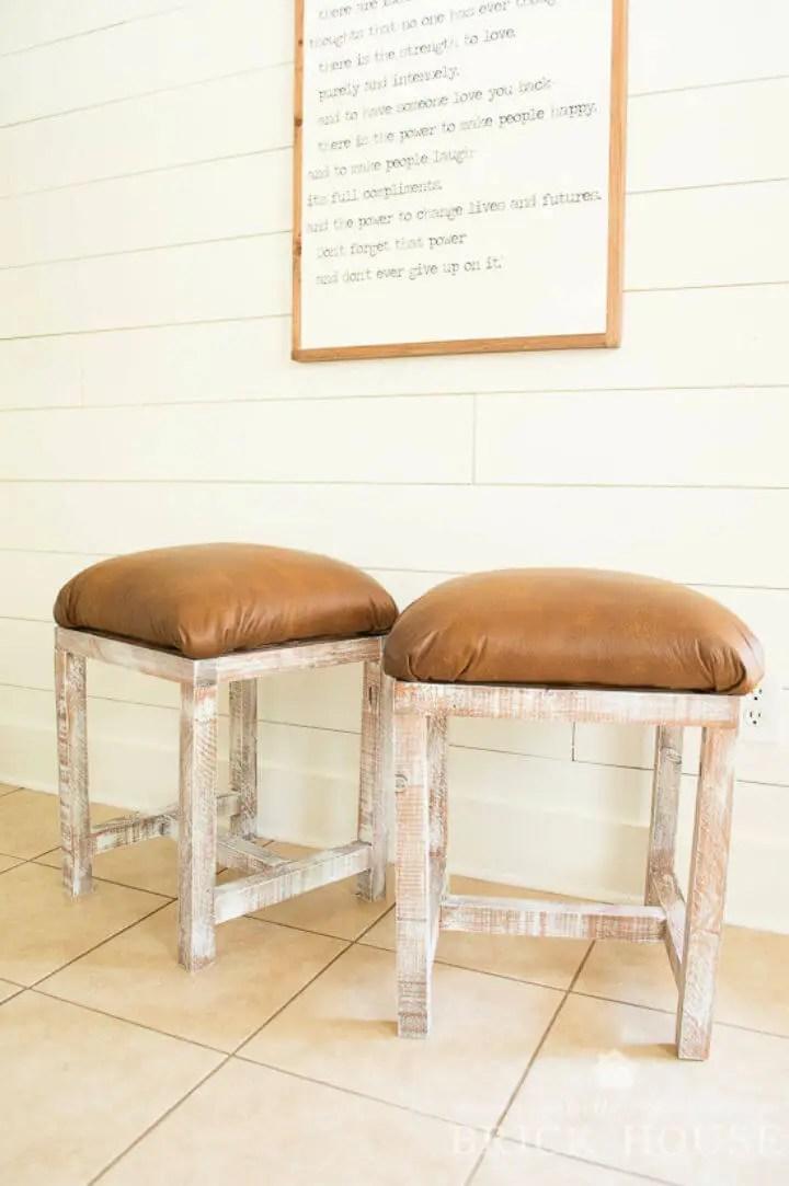DIY Plywood Farmhouse Leather Footstools