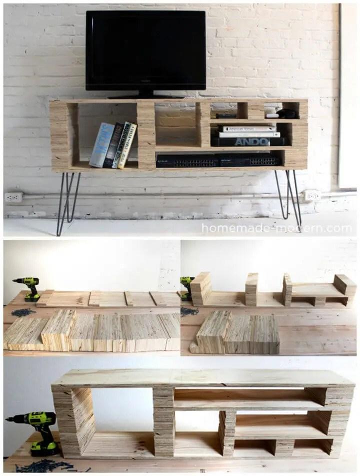 DIY Plywood Media Console