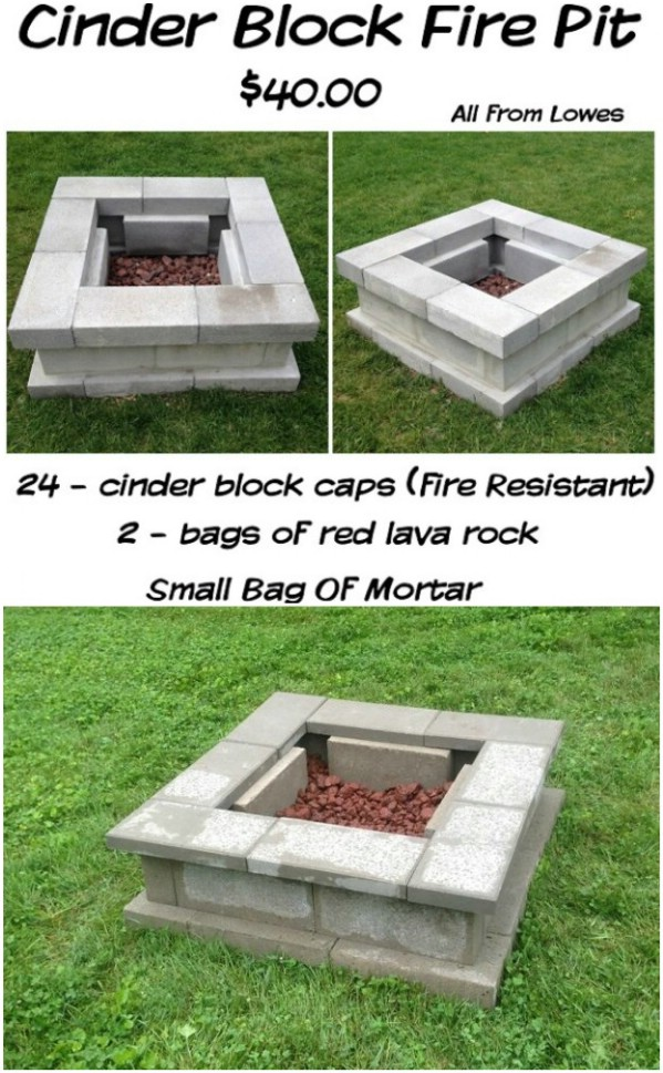 30 Brilliantly Easy DIY Fire Pits To Enhance Your Outdoors ... on Simple Cinder Block Fireplace id=90858