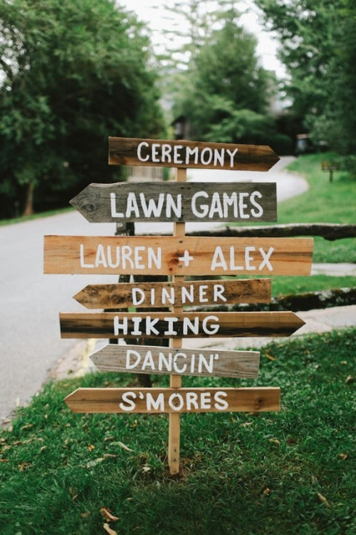 Rustic DIY Wedding Ceremony Directional Sign