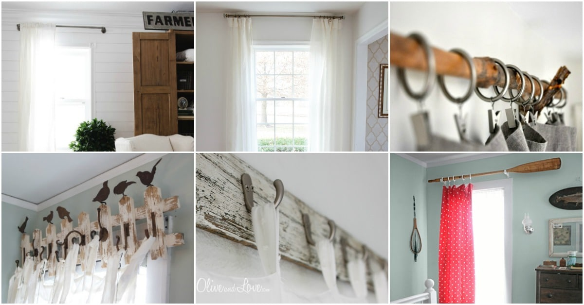 homemade curtain rod holders