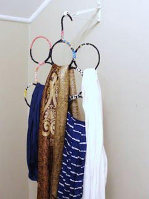 Repurposed Wire Hanger Scarf Organizer
