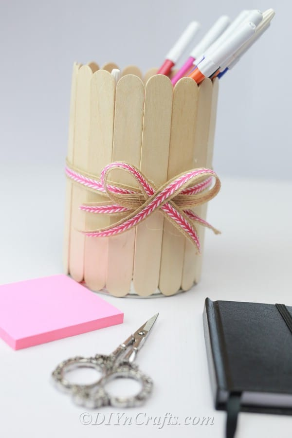 Finished popsicle stick covered pencil can