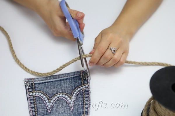 Measuring rope handle for denim bag pocket purse