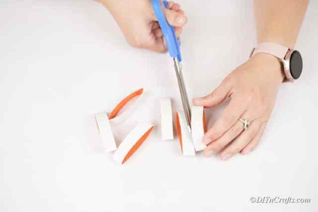 tuvalet kağıdı rulosunun şeritlerini kesmek