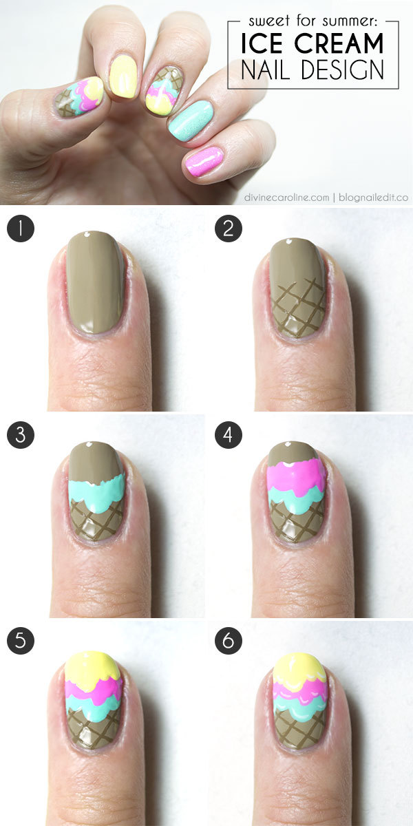 Ice Cream Cone Nail Art