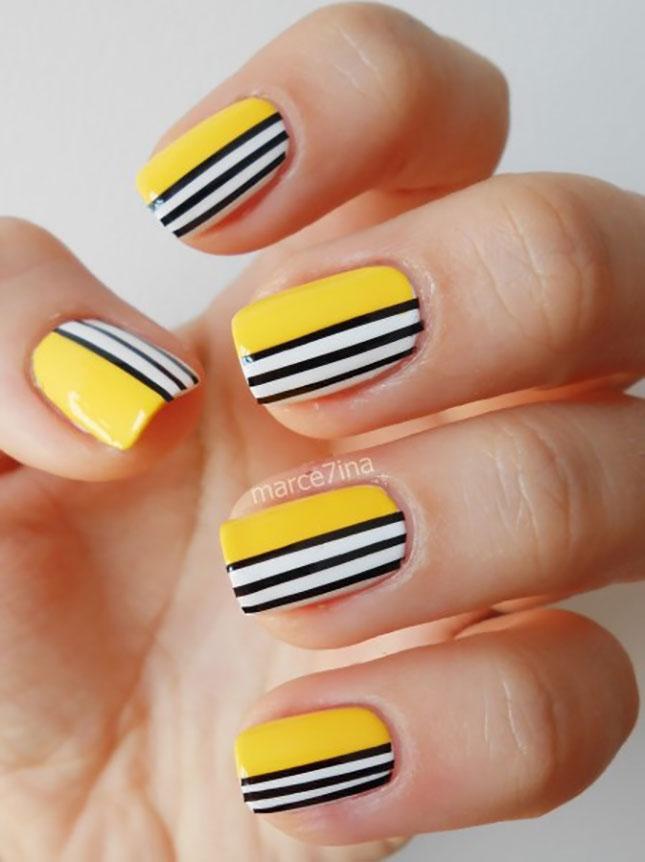 Yellow Black Nail Art