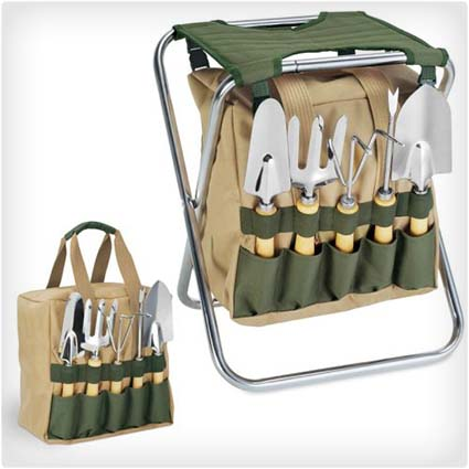 Gardener Folding Chair with Tools