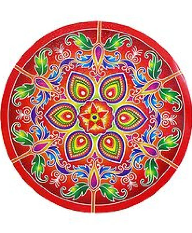 Multicolor Alpana Print on Round Sticker - Paper Sticker