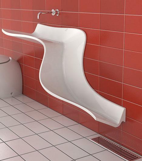 dornob:  Bathroom Waterfall Wall Sinks Show Off Daily Use & Flow