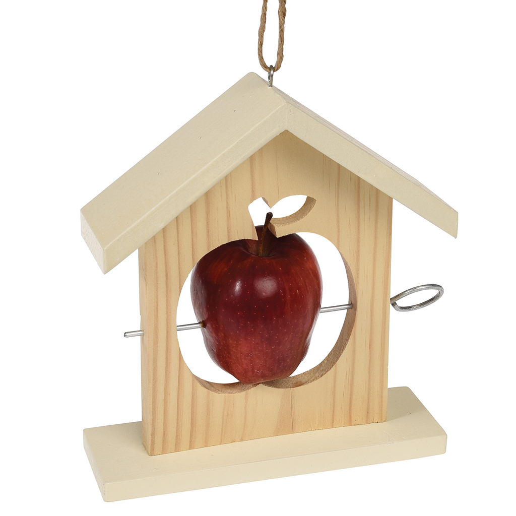 wooden apple bird feeder | dotcomgiftshop