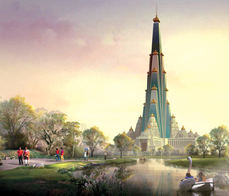 An artist's impression of Chandrodaya Mandir in Vrindavan, estimated to be the tallest in the world