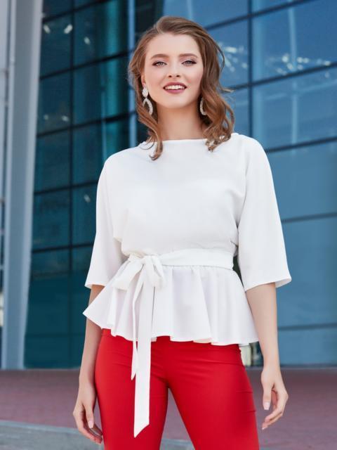 Блузка с баской и резинкой по талии белая 39868 – купить в ...