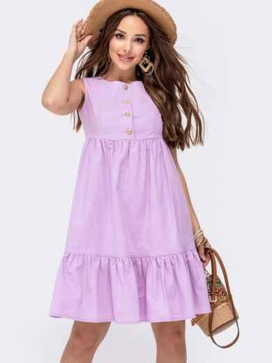Расклешенное платье с завышенной талией фиолетового цвета ...