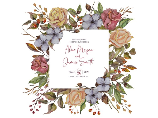 Autumn Wedding Invitation With Roses