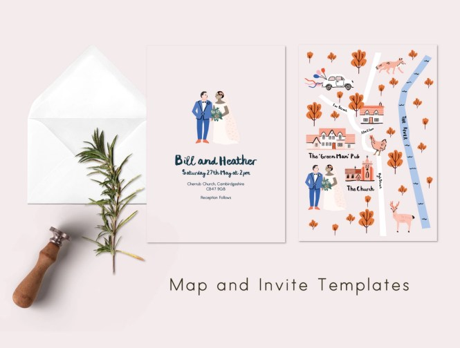 Wedding Invite And Map Template By Emma