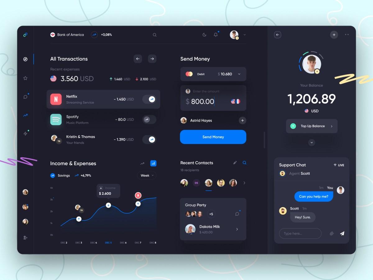 Bank dashboard UI Dark