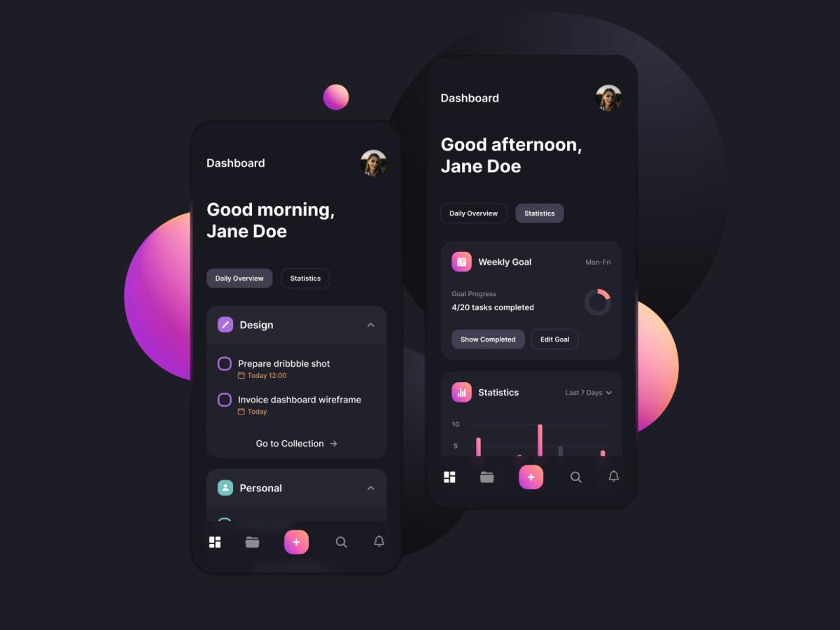 gradient mobile dashboard