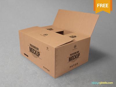 Download Free Cardboard Box Mockup by ZippyPixels - Dribbble