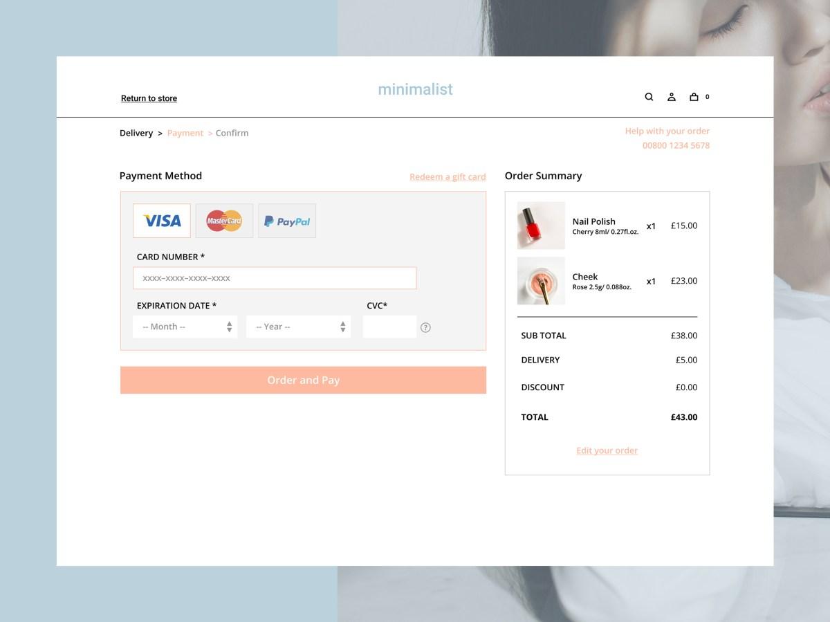 minimalist checkout page design by Emiko Yasuda on Dribbble