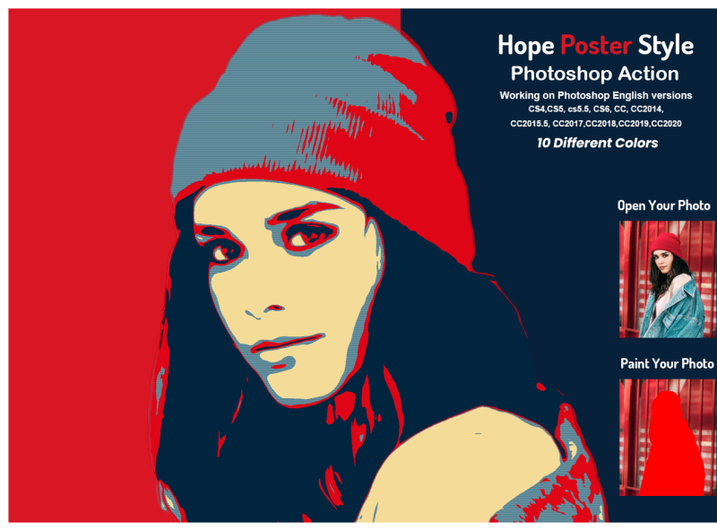 hope poster style photoshop action by
