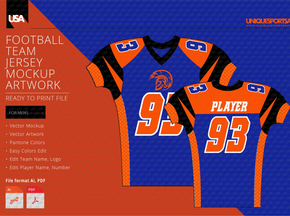 Download WARRIORS FOOTBALL COMPRESSION JERSEY DESIGN MOCKUP by ...