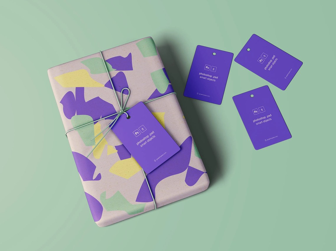 Download Free Wrapped Gift Package Mockup with Tags by Wassim on ...