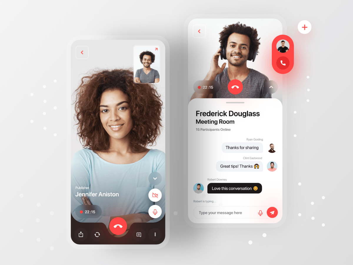 Mobile Video Call Chat UI Design