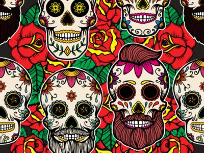 Pattern With Sugar Skulls By Kotliar On Dribbble