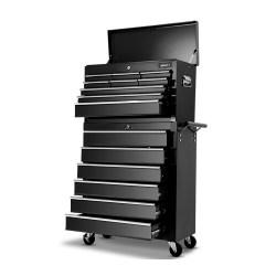 Giantz 15 Drawers Tool Box Chest Trolley Cabinet Garage Storage Boxes Organizer Black