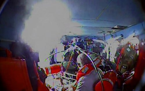 The Coast Guard medevacs a man suffering from a leg laceration 34 miles off Oregon Inlet, North Carolina, July 3, 2020. The crew of Coast Guard Cutter Nathan Bruckenthal responded, rendered first aid, and transferred the man to an MH-60 Jayhawk helicopter aircrew from Air Station Elizabeth City, where he was transported to the Sentara Albemarle Medical Center in Elizabeth City, North Carolina, to receive further medical assistance. (U.S. Coast Guard video courtesy of Air Station Elizabeth City, North Carolina)