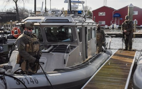 Crewmembers from Maritime Security Response Team-East, located in Chesapeake, Va., prepare to get underway for security operations ahead of the 2021 Presidential Inauguration at Joint Base Anacostia-Bolling, Washington, Jan. 16, 2021. On Sept. 24, 2018, the Department of Homeland Security designated the Presidential Inauguration as a recurring National Special Security Event. Events may be designated NSSEs when they warrant the full protection, incident management and counterterrorism capabilities of the Federal Government. (U.S. Coast Guard photo by Petty Officer 3rd Class Kimberly Reaves/Released)