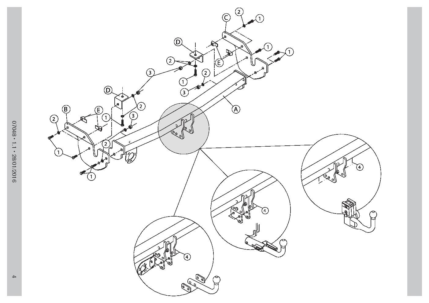 Swan Neck Towbar 7pin Electrics For Citroen C4 Cactus 2wd