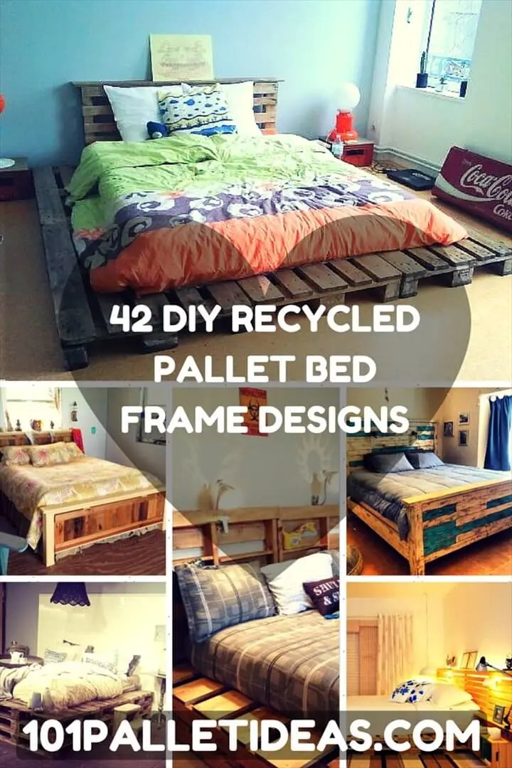 100 DIY Recycled Pallet Bed Frame Designs - Easy Pallet Ideas on Bed Pallet Design  id=14619