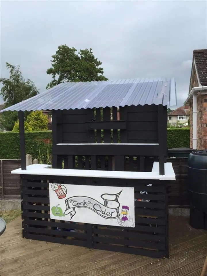 Outdoor Pallet Bar - Easy Pallet Ideas on Backyard Bar With Roof id=45581