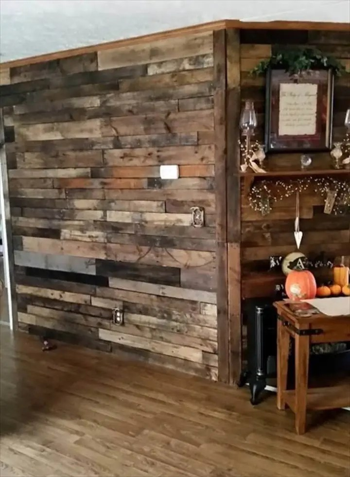 Pallet Wood Wall - Pallet Room Divider Wall - Easy Pallet ... on Pallet Room Ideas  id=54452