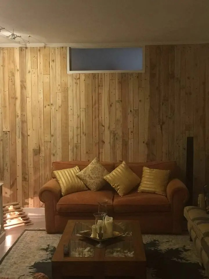 Pallet Wood Wall Paneling - Stairway and Living Room ... on Pallet Room Ideas  id=13333