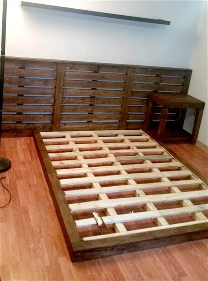 Diy Platform Pallet Bed With Lights Amp Xl Headboard Easy