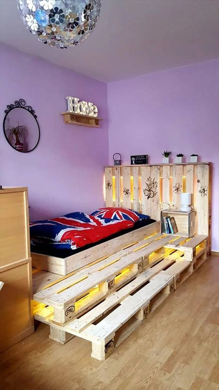 Toddler Pallet Bed with LED Lights - Easy Pallet Ideas on Bedroom Pallet Ideas  id=31454