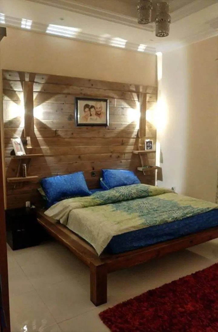 DIY Pallet Bed with Wall Headboard + Lamps + Shelf - Easy ... on Bedroom Pallet Ideas  id=32320