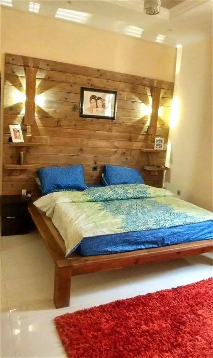 DIY Pallet Bed with Wall Headboard + Lamps + Shelf - Easy ... on Bedroom Pallet Ideas  id=52436