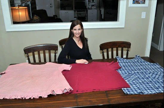 Diane Carbonell with her old shirts