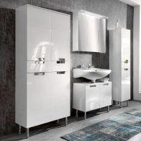 Badezimmerschrank Hochschrank Hochglanz weiß Seitenschrank ...