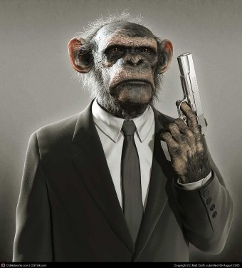 Photo of a somber monkey wearing a business suit, holding a hand gun.