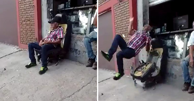 Airbag In Chair Sends Old Man Rivers Flying Ouch Video