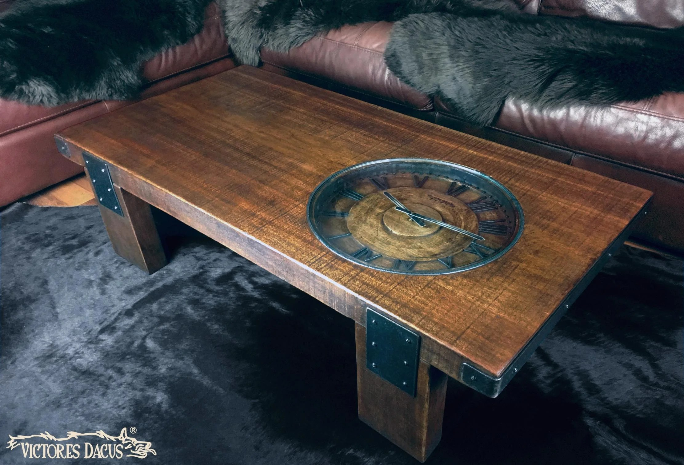 vintage wood and iron coffee table with