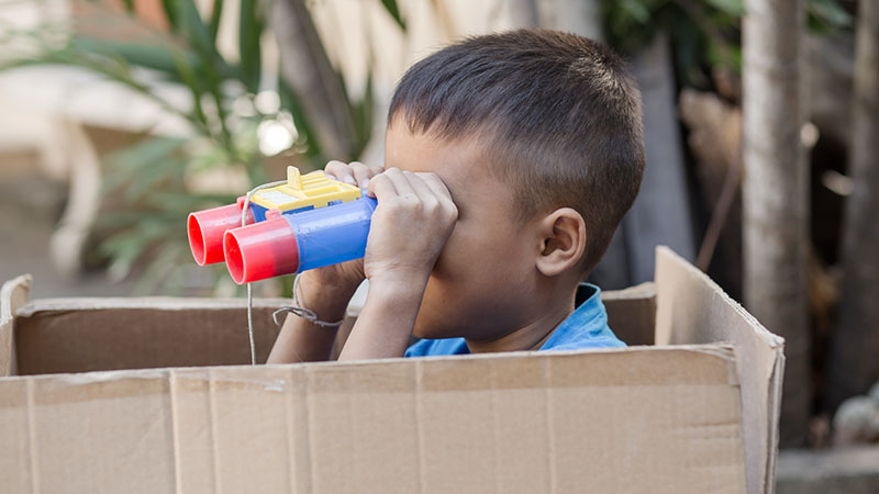 Create learning opportunities with a cardboard box