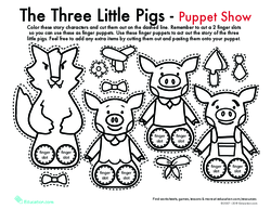The Three Little Pigs Finger Puppets Play Lesson Plan