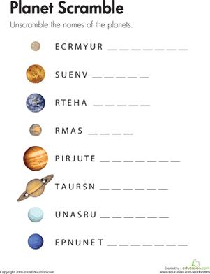 Scrambled Planet Names   Worksheet   Education.com